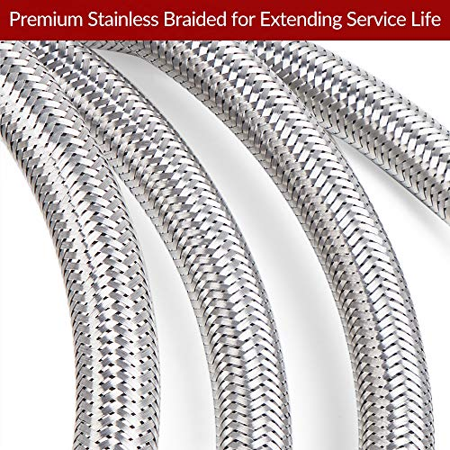 SHINESTAR 12 Foot Propane Hose Assembly, Braided Stainless Steel Propane Extension Hose – 3/8inch Female Flare x 3/8inch Female Flare Fittings for RV, Gas Grill, Fire Pit, Heater and More