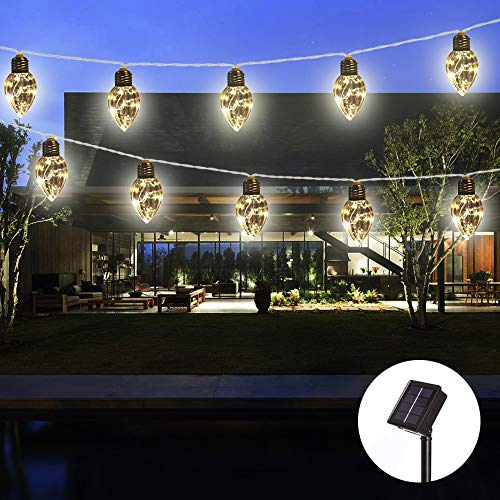 Obrecis Solar String Lights Bulb Copper Wire Lights, Waterproof Outdoor Garden Camping Hanging LED Light String Lamp for Christmas, Valentine, Halloween, Party Decor-15ft(Clear Bulb 5)