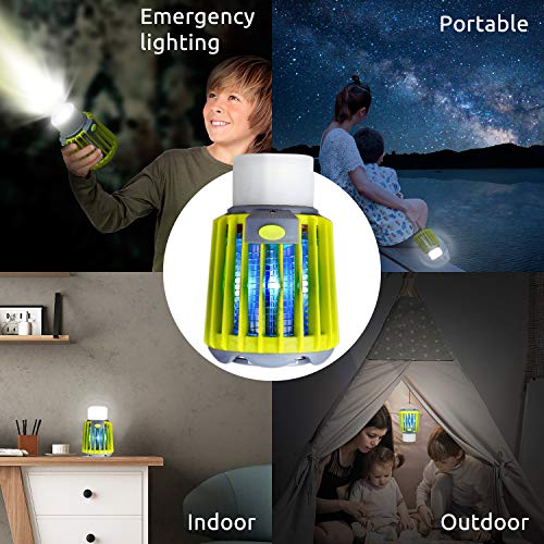 ERAVSOW Bug Zapper & LED Camping Lantern & Flashlight 3-in-1, Waterproof Rechargeable Mosquito Killer, Portable Compact Camping Gear for Outdoors