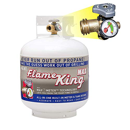Flame King YSN230a 20 Pound Steel Propane Tank Cylinder with Overflow Protection Device Valve and Built-in Gauge for Grills and BBQs, White