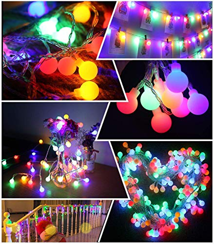 NSEN Led String Lights, Colored Globe String Lights, 44Ft 100 LED, 8 Lighting Modes, Starry String Lights for Christmas Indoor Bedroom Outdoor Garden Patio Holiday Decoration (USB)