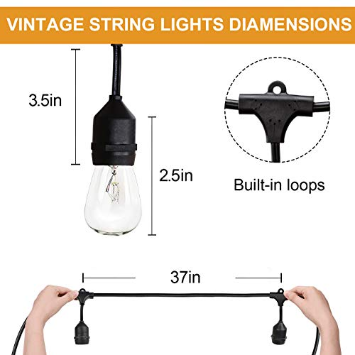 Amico 49FT Outdoor String Lights Commercial Grade Weatherproof Yard Lights, 11W Incandescent Bulbs, UL Listed Heavy-Duty Decorative Patio Bistro Market Café Lights