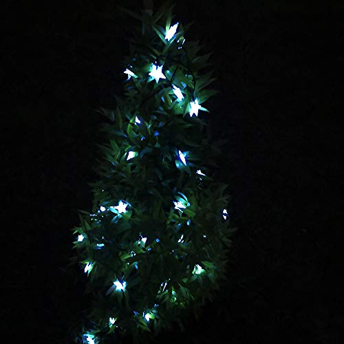 Lumsworld 50 LED Solar Star String Lights Outdoor Waterproof, 30.6Ft Cool White Chrsitmas Lights Outdoor Solar Star Twinkle Lights for Christmas Wedding Party Camping Patio Garden Yard Porch