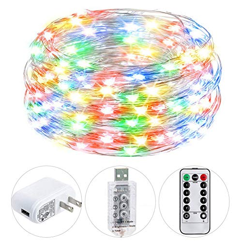 HSicily USB Plug in Fairy Lights with Remote Control Timer, 8 Modes 40ft 120 LED USB String Lights with Adapter,Multi Color Waterproof LED Twinkle Lights for Bedroom Indoor Decoration
