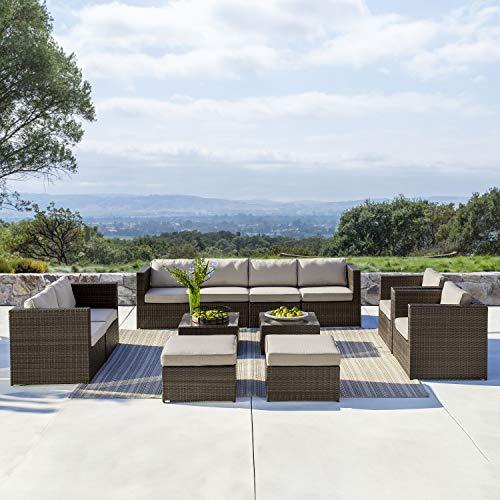 Supernova Outdoor Furniture 12 Pieces Garden Patio Sofa Set   Wicker Rattan Sectional Sofa   Fully Assembled   Aluminum Frame   Brown