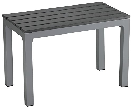 Cortesi Home CH-DB700114 Jaxon Aluminum Outdoor Bench in Poly Resin, 26″ W x 14″ L x 17″ H, Grey