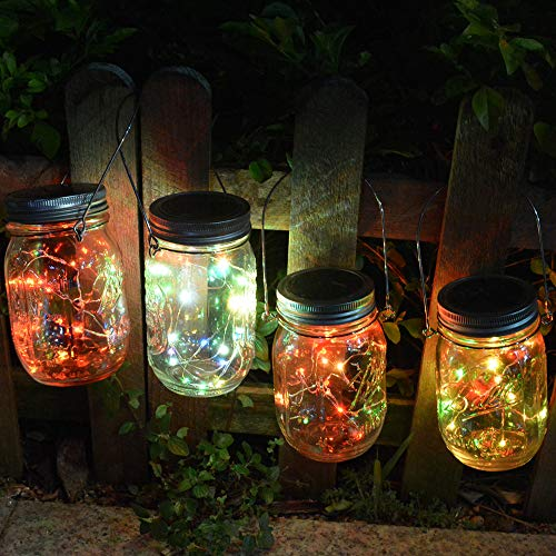 Homeleo 4 Pack 20 Led Color Changing Solar Powered Mason Jar Lights with Hangers for Outdoor Pathway Porch Table Yard Fence Decoration(Jars Not Included)