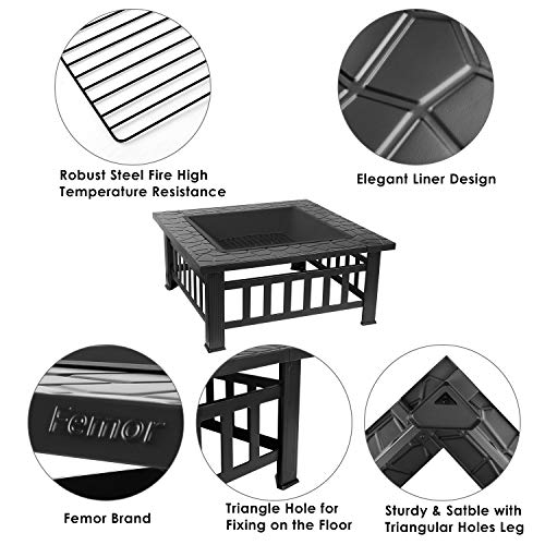 """femor 32"""" Fire Pit Table Outdoor, Multifunctional Patio Backyard Garden Fireplace Heater/BBQ/Ice Pit, Square Stove with Barbecue Grill Shelf and Waterproof Cover"""