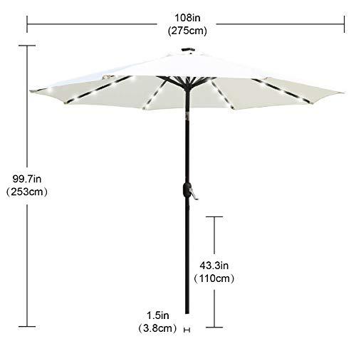 ABCCANOPY Solar Umbrellas Patio Umbrella 9 FT LED Umbrellas 32LED Lights with Tilt and Crank Outdoor Umbrella Table Umbrellas for Garden, Deck, Backyard, Pool and Beach,12+Colors, (Light Beige-1)