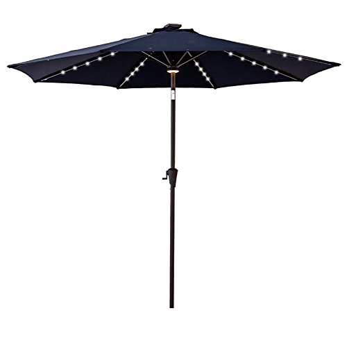 C-Hopetree 9′ Solar LED Lighted Outside Patio Market Umbrella for Outdoor Table Balcony Garden Deck Poolside with Tilt, Navy Blue