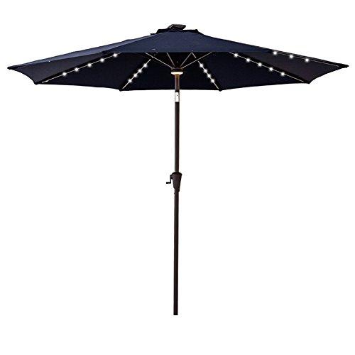 C-Hopetree 9′ Solar LED Lighted Outside Patio Market Umbrella for Outdoor Table Balcony Garden Deck Poolside with Tilt, Navy Blue