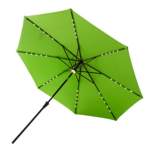 FLAME&SHADE 10′ Lighted Outdoor Patio Market Umbrella with Solar LED Lights and Tilting for Outside Table or Large Deck, Apple Green