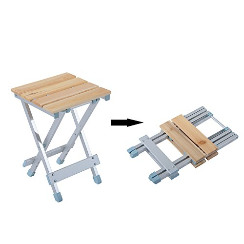 Outsunny Height Adjustable Folding Outdoor Picnic Table w/ 4 Seats – Natural Wood and Silver