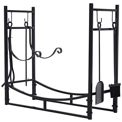 Outsunny Firewood Log Rack Holder with Fireplace Tools, Indoor Outdoor, Wrought Iron, 33″ L