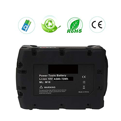 VINIDA 2 Pack 18V 4000mAh Lithium-ion Replacement Battery for Milwaukee M18 Series Cordless Power Tool 48-11-1850 48-11-1852 48-11-1840 48-11-1828 M18 Battery