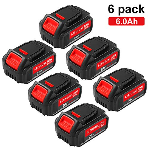 6-Packs 6000mAh 20 Volt MAX Replace for Dewalt 20V Battery Lithium-ion DCB205-2 DCB205 DCB203 DCB200 DCB201-2 DCB201 DCB200 Cordless Power Tool