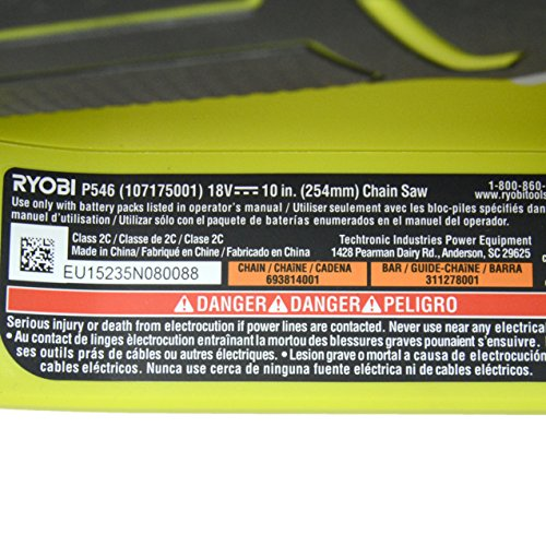 Ryobi P546 10 in. ONE+ 18-Volt Lithium+ Cordless Chainsaw (Tool Only – Battery and Charger NOT Included)