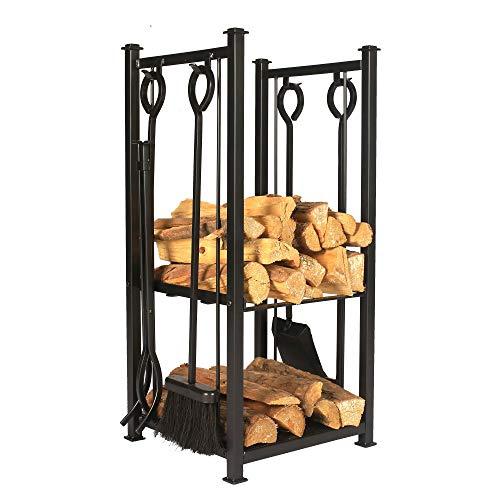 Better Garden Iron Firewood Log Rack with Fireplace Tool Set, 15″(W) X 13″(D) X 28.5″(H)