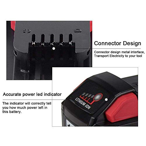 2 Pack 18V 6.0Ah Replacemet Lithium ion Battery for Milwaukee M18 M18B 48-11-1850 48-11-1815 48-11-1820 48-11-1852 48-11-1828 48-11-1822 48-11-1811 48-11-1840 Series 18 Volts Cordless Tool Batteries