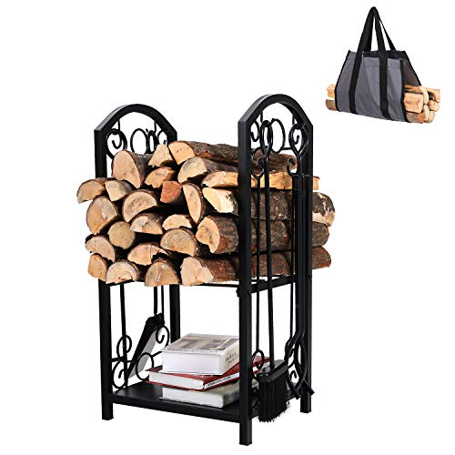 PHI VILLA All-in-One Heavy Duty Hearth Indoor/Outdoor Firewood Rack with Fireplace Tools Set, 28 Inch Tall Log Holder, Black
