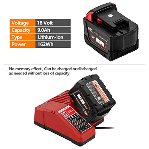 ROALLY 9.0Ah High Capacity Replace for Milwaukee M18 Battery 48-11-1815 48-11-1820 48-11-1828 48-11-1850 Cordless Power Tools