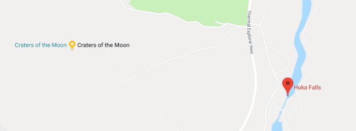 Huka Falls 與 Craters of the Moon 地理位置