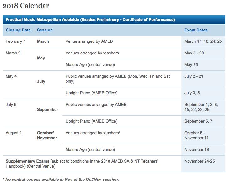 AMEB Adelaide exam schedule