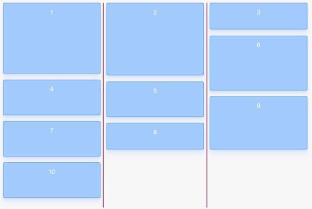 CSS masonry с помощью flexbox, :nth-child() и order