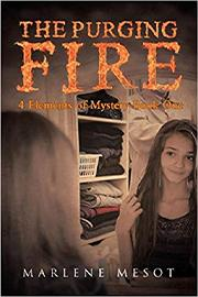 "A brown haired girl smiles at herself in a mirror beneath the title ""The Purging Fire"" which is written in flaming letters."