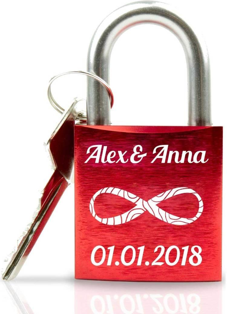 Liebesschloss mit Schlüssel und Gravur kaufen