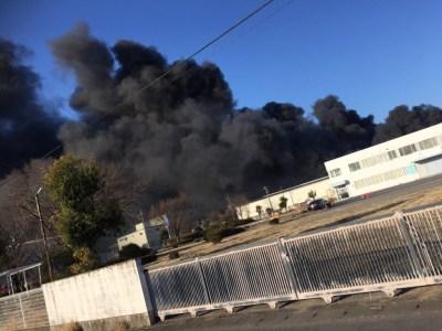 群馬県玉村町みやま運輸倉庫株式会社で大火災