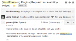 E-mail of my request for plugin repository