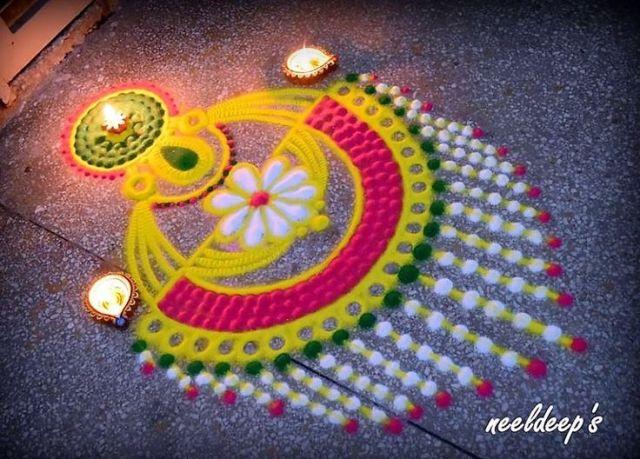 Latest Beautiful Rangoli Designs For Diwali Festival 2017