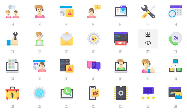 50 Tech Support Icons Set Download For Free | Vector, PSD & PNG