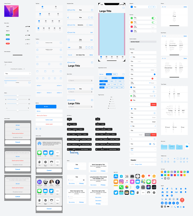 iOS 11 UI kit For iPhone X