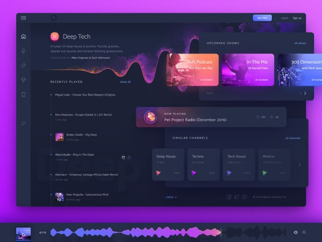 Music Gradient Dashboard UI Designs