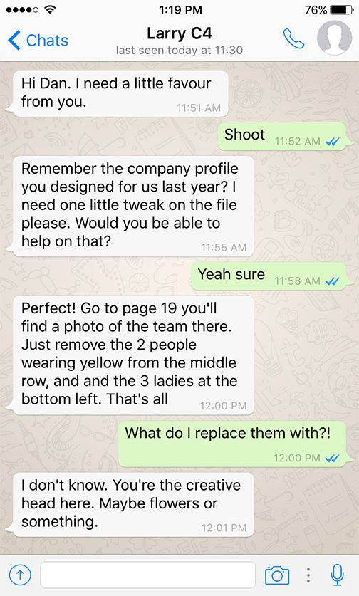 designer and client funny conversation