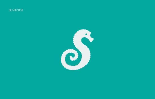 Sea Horse Clever Alphabetical Logos