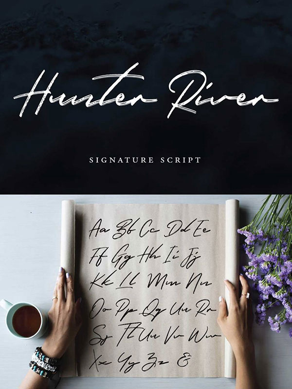 Hunter River Free Calligraphy Font