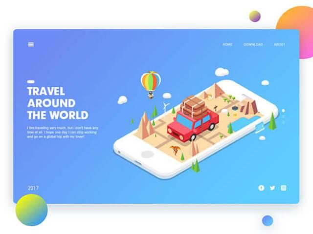 Isometric Illustrations travel design