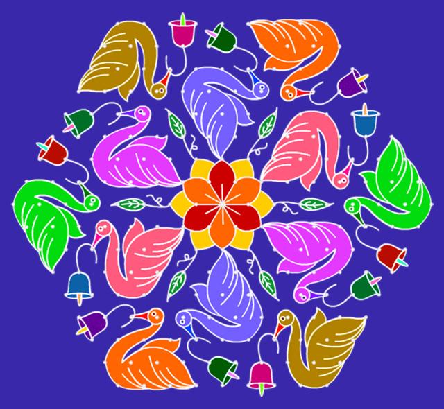 Bird Simple Rangoli Designs
