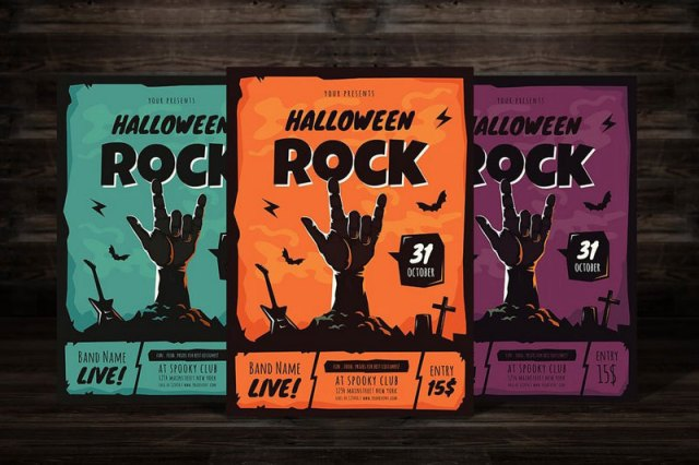 Halloween Rock Party Flyer Templates