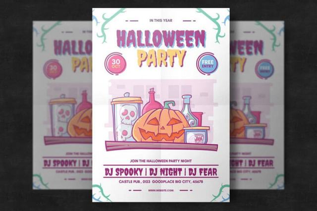 Halloween Colorful Party Flyer Templates