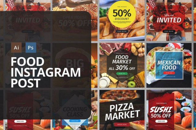 instagram food post and story psd template