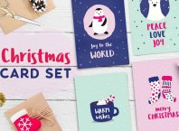 Cute Christmas Card PSD Template