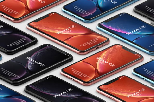 iPhone XR Mockup Isometric Free PSD