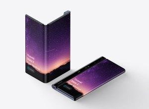 Free Huawei Mate X Foldable Phone PSD Mockup