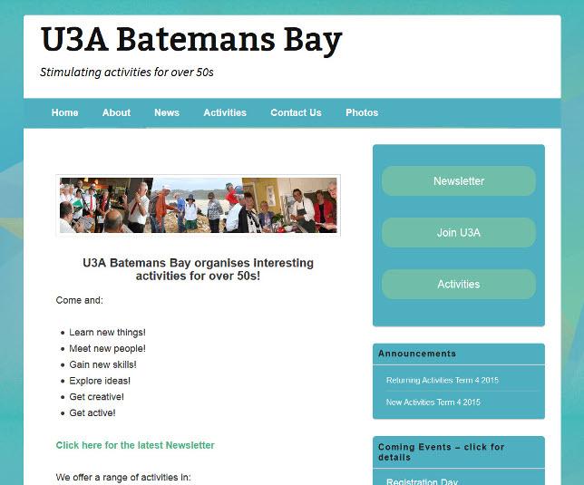 Webhive Website – Batemans Bay U3A