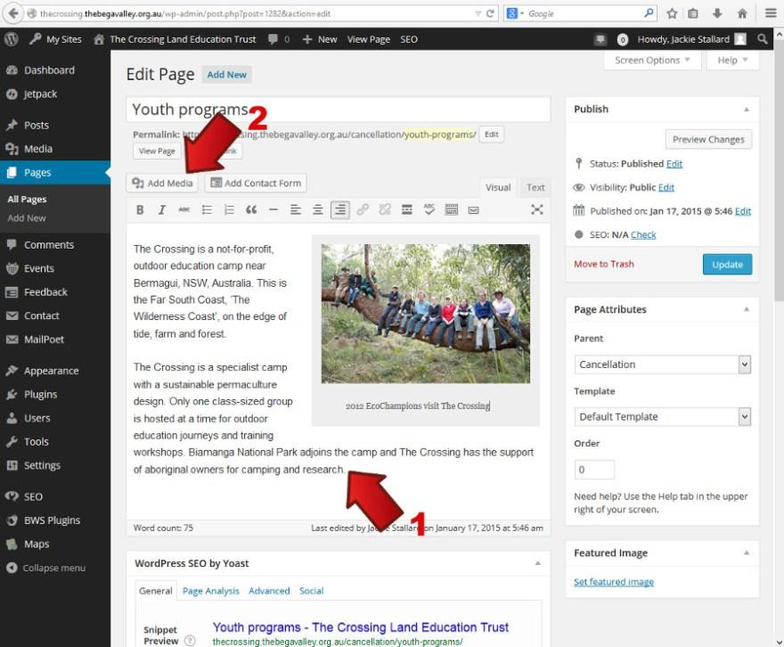 Inserting a thumbnail gallery - Webhive - Web Design Batemans Bay, Moruya, Narooma, Tilba, Cobargo, Bega
