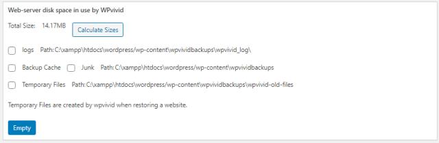 Delete Cache or Log in WPvivid